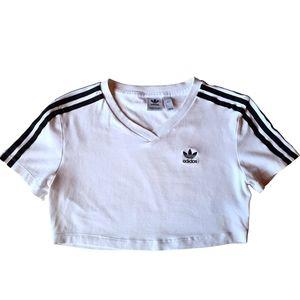 Adidas White Black Stretch Activewear Crop Tee Top